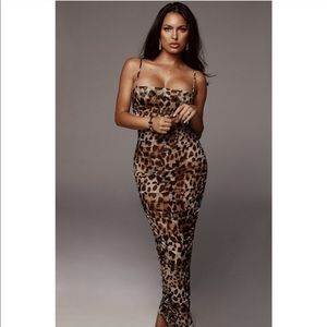 JLUXLABEL sheer leopard maxi dress